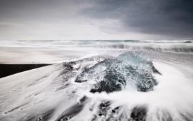 Обои пляж, океан, берег, Iceland, Jokulsarlon