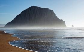 Картинка песок, море, пляж, вода, пейзаж, природа, туман