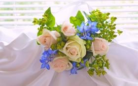 Обои розы, букет, материя