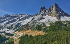 Обои Washington, лес, дорога, горы, Liberty Bell Mountain, North Cascades