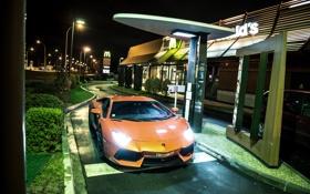 Обои оранжевый, вид спереди, Макдональдс, McDonalds, orange, свет фар, aventador