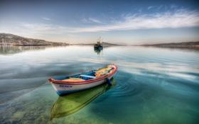 Обои небо, вода, лодка, залив, баржа
