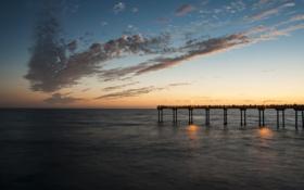 Картинка пляж, рассвет, пирс, пристань, вода, море