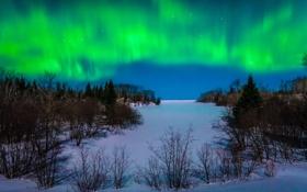 Обои зима, Iron River, сияние, снег