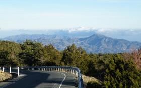 Картинка дорога, облака, горы, олимп, кипр