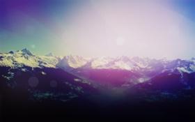 Картинка лес, небо, солнце, снег, горы, блики