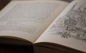 Обои текст, буквы, рисунок, книга, страницы