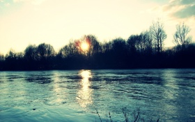 Обои осень, деревья, пейзаж, закат, природа, река