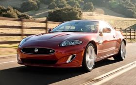 Картинка красный, купе, Jaguar, XKR, холм, Ягуар, суперкар