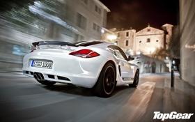 Картинка белый, ночь, улица, скорость, Porsche, Cayman, суперкар