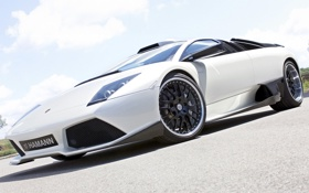 Обои авто, белый, Lamborghini, суперкар, Hamann, ракурс, Murcielago