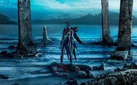 Обои вода, девушка, смерть, фантастика, берег, волна, арт