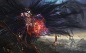Картинка рога, уши, битва, демон, арт, магия, пентаграмма