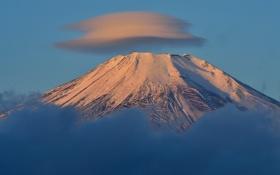 Картинка небо, облака, снег, гора, вулкан