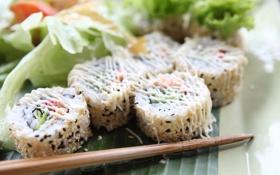 Обои водоросли, рыба, рис, соус, суши, кунжут, роллы