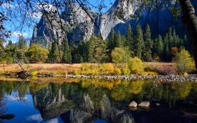 Картинка вода, деревья, горы, ветки, отражение, камни, скалы