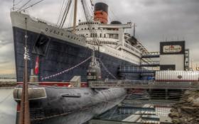 Обои субмарина, облака, небо, причал, Queen Mary, США, подводная лодка
