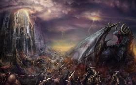 Картинка город, оружие, замок, молнии, дракон, армия, арт