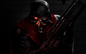 Картинка оружие, темно, арт, солдат, автомат, шлем, мужчина