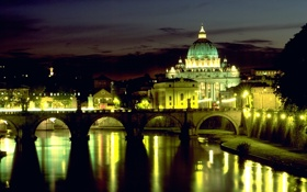 Обои ночь, огни, отражение, roma, night, италия, italy