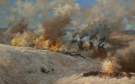 Картинка зима, пейзаж, картина, война.