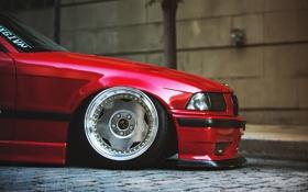 Обои BMW, red, диск, tuning, E36