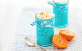 Обои апельсин, еда, ложка, цитрус, фрукты, десерт, стаканчики