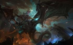 Обои монстр, лава, скалы, рог, дракон, всадник, парень