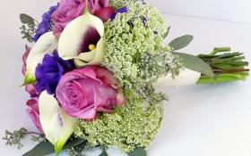Обои эустома, каллы, розы, фото, букет, цветы