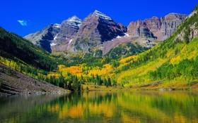 Картинка осень, лес, деревья, горы, озеро, отражение, камни