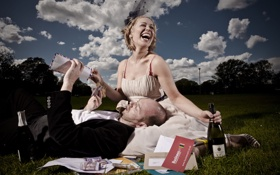 Обои girl, smile, wine, man