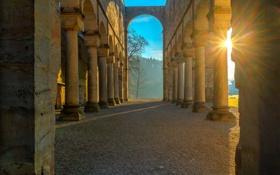 Картинка солнце, закат, Германия, колонны, руины, монастырь, Тюрингия
