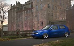 Картинка синий, замок, volkswagen, особняк, гольф, golf, blue