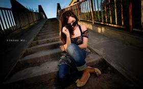 Картинка девушка, мост, портрет