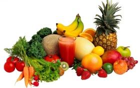 Картинка морковь, клубника, виноград, банан, фрукты, помидор, ананас
