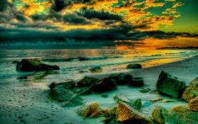 Картинка камни, небо, вечер, волны, море, берег, hdr