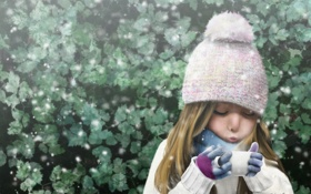 Обои холод, снег, шапка, куст, арт, пар, девочка