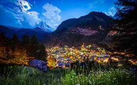 Обои пейзаж, горы, ночь, огни, Moonlit Matterhorn