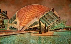 Картинка здание, текстура, бассейн, Испания, холст, Валенсия