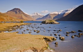 Картинка осень, вода, снег, горы, озеро, камни, вершины