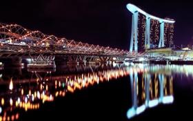 Обои вода, ночь, город, огни, отражение, отель, сингапур