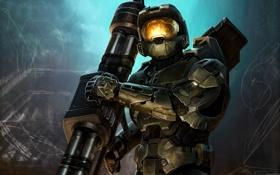Картинка отражение, оружие, солдат, костюм, Halo, броня