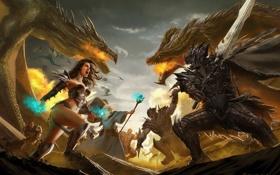 Картинка огонь, колдун, Dragon Realms, посох, меч, битва, воин