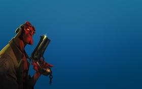 Обои красный, оружие, демон, плащ, синий фон, Hellboy, Хеллбой
