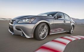 Обои серый, скорость, трасса, Lexus, поворот