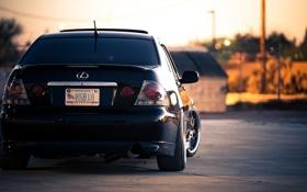 Обои чёрный, Lexus, black, лексус, задняя часть