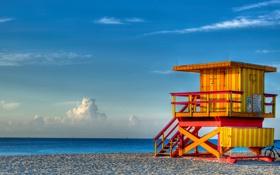 Обои песок, море, пляж, небо, облака, океан, Майами
