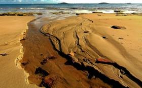 Обои песок, море, небо, берег, отлив