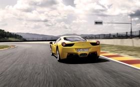 Обои Авто, Дорога, Желтый, Машина, Асфальт, Ferrari, 458