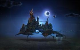 Обои ночь, замок, месяц, дорожка